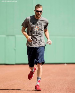 BOSTON, MA - APRIL 11: Chris Sale #41 of the Boston Red Sox jogs along the warning track before a game against the Baltimore Orioles on April 11, 2017 at Fenway Park in Boston, Massachusetts. (Photo by Billie Weiss/Boston Red Sox/Getty Images) *** Local Caption *** Chris Sale