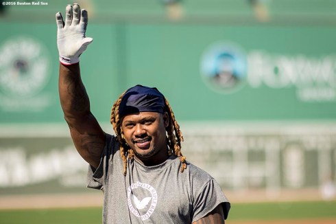 BOSTON, MA - APRIL 11: Hanley Ramirez #13 of the Boston Red Sox waves during batting practice before a game against the Baltimore Orioles on April 11, 2017 at Fenway Park in Boston, Massachusetts. (Photo by Billie Weiss/Boston Red Sox/Getty Images) *** Local Caption *** Hanley Ramirez