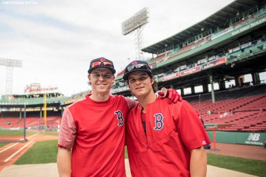 BOSTON, MA - APRIL 11: Brock Holt #12 and Andrew Benintendi #16 of the Boston Red Sox pose before a game against the Baltimore Orioles on April 11, 2017 at Fenway Park in Boston, Massachusetts. (Photo by Billie Weiss/Boston Red Sox/Getty Images) *** Local Caption ***Brock Holt; Andrew Benintendi