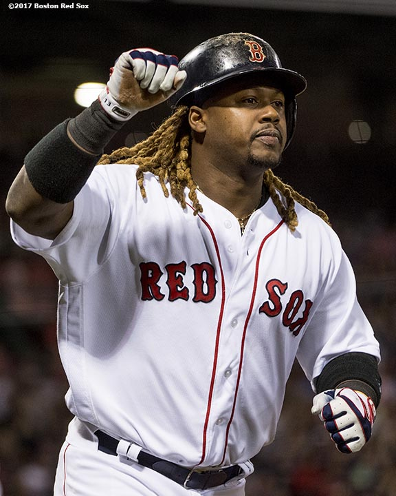 BOSTON, MA - APRIL 11: Hanley Ramirez #13 of the Boston Red Sox reacts after scoring during the second inning of a game against the Baltimore Orioles on April 11, 2017 at Fenway Park in Boston, Massachusetts. (Photo by Billie Weiss/Boston Red Sox/Getty Images) *** Local Caption *** Hanley Ramirez