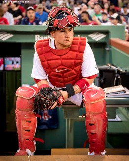 BOSTON, MA - APRIL 11: Christian Vazquez #7 of the Boston Red Sox looks on before a game against the Baltimore Orioles on April 11, 2017 at Fenway Park in Boston, Massachusetts. (Photo by Billie Weiss/Boston Red Sox/Getty Images) *** Local Caption *** Christian Vazquez