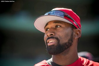 BOSTON, MA - APRIL 15: Jackie Bradley Jr. #19 of the Boston Red Sox looks on before a game against the Tamp Bay Rays on April 15, 2017 at Fenway Park in Boston, Massachusetts. (Photo by Billie Weiss/Boston Red Sox/Getty Images) *** Local Caption *** Jackie Bradley Jr.