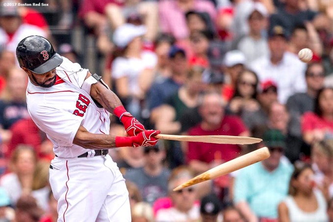 BOSTON, MA - APRIL 16: Chris Young #30 of the Boston Red Sox breaks his bat as he grounds out during the second inning of a game against the Tampa Bay Rays on April 16, 2017 at Fenway Park in Boston, Massachusetts. (Photo by Billie Weiss/Boston Red Sox/Getty Images) *** Local Caption *** Chris Young
