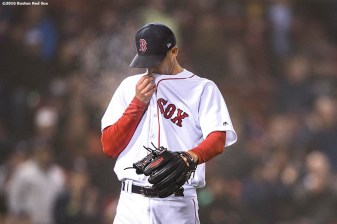 BOSTON, MA - APRIL 26: Rick Porcello #22 of the Boston Red Sox reacts after allowing a run during the sixth inning of a game against the New York Yankees on April 26, 2017 at Fenway Park in Boston, Massachusetts. (Photo by Billie Weiss/Boston Red Sox/Getty Images) *** Local Caption *** Rick Porcello