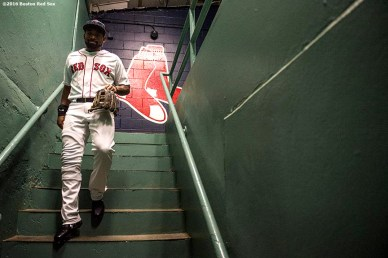 BOSTON, MA - APRIL 29: Jackie Bradley Jr. #19 of the Boston Red Sox walks out of the clubhouse before a game against the Chicago Cubs on April 29, 2017 at Fenway Park in Boston, Massachusetts. (Photo by Billie Weiss/Boston Red Sox/Getty Images) *** Local Caption *** Jackie Bradley Jr.