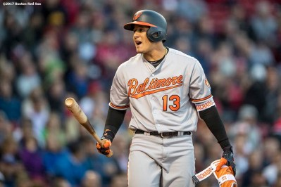 BOSTON, MA - MAY 3: Manny Machado #13 of the Baltimore Orioles reacts after striking out during the first inning of a game against the Boston Red Sox on May 3, 2017 at Fenway Park in Boston, Massachusetts. (Photo by Billie Weiss/Boston Red Sox/Getty Images) *** Local Caption *** Manny Machado