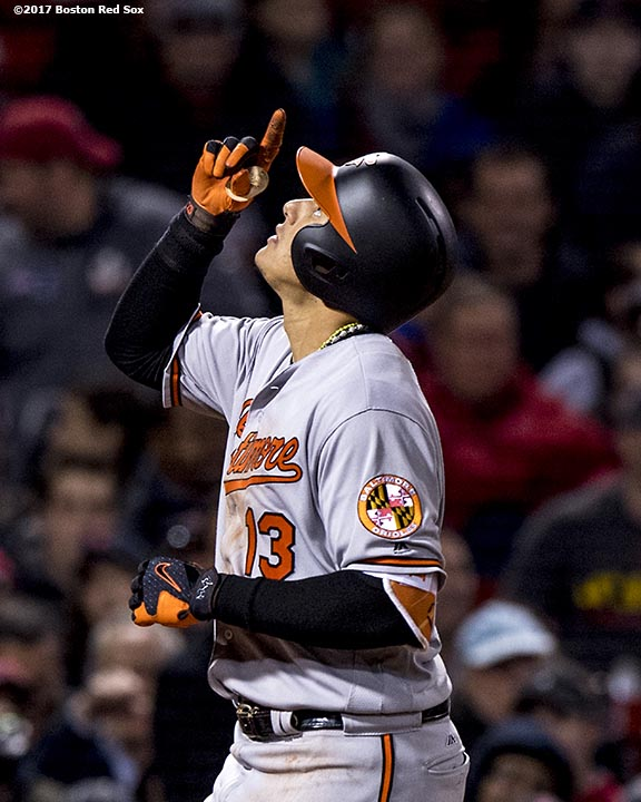 BOSTON, MA - MAY 4: Manny Machado #13 of the Baltimore Orioles reacts after hitting a three run home run during the fourth inning of a game against the Boston Red Sox on May 4, 2017 at Fenway Park in Boston, Massachusetts. (Photo by Billie Weiss/Boston Red Sox/Getty Images) *** Local Caption *** Manny Machado