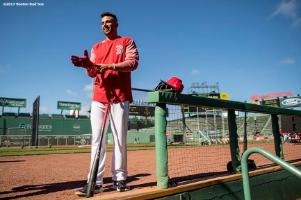 BOSTON, MA - MAY 12: Deven Marrero #17 of the Boston Red Sox reacts before a game against the Tampa Bay Rays on May 12, 2017 at Fenway Park in Boston, Massachusetts. (Photo by Billie Weiss/Boston Red Sox/Getty Images) *** Local Caption *** Deven Marrero