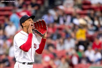 BOSTON, MA - MAY 23: Mookie Betts #50 of the Boston Red Sox reacts before the first inning of a game against the Texas Rangers on May 23, 2017 at Fenway Park in Boston, Massachusetts. (Photo by Billie Weiss/Boston Red Sox/Getty Images) *** Local Caption *** Mookie Betts