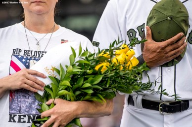 BOSTON, MA - MAY 28: Gold Star Wife Tracy Taylor is recognized alongside Chris Young #30 of the Boston Red Sox during a Memorial Day ceremony before a game against the Seattle Mariners on May 28, 2017 at Fenway Park in Boston, Massachusetts. (Photo by Billie Weiss/Boston Red Sox/Getty Images) *** Local Caption *** Tracy Taylor; Chris Young