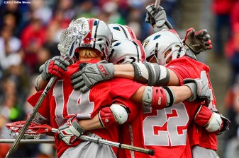 FOXBORO, MA - MAY 29: Members of the Ohio State Buckeyes react after scoring a goal during the Division I Men's Lacrosse Championship against the Ohio State Buckeyes at Gillette Stadium on May 29, 2017 in Foxboro, Massachusetts. (Photo by Billie Weiss/Getty Images) *** Local Caption ***