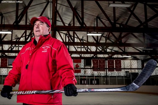 December 2, 2016, Waltham, MA: Waltham High School hockey coach John Macguire poses for a portrait during a practice at Veterans Memorial Skating Rink in Waltham, Massachusetts Friday, December 2, 2016. (Photo by Billie Weiss/Babson College Magazine)