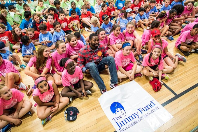 June 12, 2017, Boston, MA: Boston Red Sox center fielder Jackie Bradley Jr. poses for a photograph with students during the 2017 Jimmy Fund Rally Against Cancer at the Fisher School in Walpole, Massachusetts Monday, June 12, 2017. (Photo by Billie Weiss/Boston Red Sox)