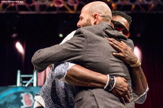 June 22, 2017, Boston, MA: Boston Red Sox second baseman Dustin Pedroia hugs former Boston Red Sox designated hitter David Ortiz during the Roast of David Ortiz, benefitting the David Ortiz Children's Fund, at House of Blues in Boston, Massachusetts Thursday, June 22, 2017. (Photo by Billie Weiss/Boston Red Sox)