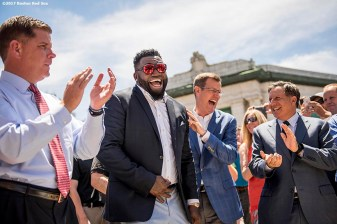 June 22, 2017, Boston, MA: Former Boston Red Sox designated hitter David Ortiz speaks with Boston Mayor Marty Walsh, Boston Red Sox President Sam Kennedy and Chairman Tom Werner during the unveiling of David Ortiz Drive, formerly known as Yawkey Way Extension, at Fenway Park in Boston, Massachusetts Thursday, June 22, 2017. (Photo by Billie Weiss/Boston Red Sox)
