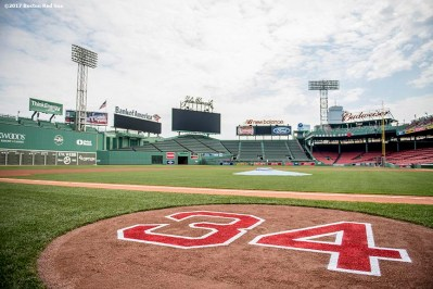 BOSTON, MA - JUNE 23: The number 34 is displayed in the on deck circle ahead of the jersey retirement of former designated hitter David Ortiz #34 of the Boston Red Sox before a game against the Los Angeles Angels of Anaheim on June 23, 2017 at Fenway Park in Boston, Massachusetts. (Photo by Billie Weiss/Boston Red Sox/Getty Images) *** Local Caption *** David Ortiz