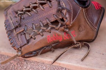 BOSTON, MA - JUNE 28: The glove of Robby Scott #63 of the Boston Red Sox is shown before a game against the Minnesota Twins on June 28, 2017 at Fenway Park in Boston, Massachusetts. (Photo by Billie Weiss/Boston Red Sox/Getty Images) *** Local Caption ***Robby Scott