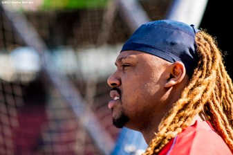 BOSTON, MA - JUNE 28: Hanley Ramirez #13 of the Boston Red Sox looks on before a game against the Minnesota Twins on June 28, 2017 at Fenway Park in Boston, Massachusetts. (Photo by Billie Weiss/Boston Red Sox/Getty Images) *** Local Caption *** Hanley Ramirez