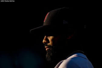 BOSTON, MA - JUNE 28: Chris Young #30 of the Boston Red Sox looks on before a game against the Minnesota Twins on June 28, 2017 at Fenway Park in Boston, Massachusetts. (Photo by Billie Weiss/Boston Red Sox/Getty Images) *** Local Caption ***Chris Young