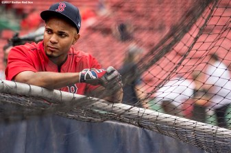 BOSTON, MA - JUNE 29: Xander Bogaerts #2 of the Boston Red Sox looks on before a game against the Minnesota Twins on June 29, 2017 at Fenway Park in Boston, Massachusetts. (Photo by Billie Weiss/Boston Red Sox/Getty Images) *** Local Caption ***Xander Bogaerts