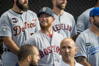 MIAMI, FL - JULY 10: Craig Kimbrel #46 of the Boston Red Sox reacts with teammates during Gatorade All-Star Workout Day at Marlins Park on July 10, 2017 in Miami, Florida. (Photo by Billie Weiss/Boston Red Sox/Getty Images) *** Local Caption *** Craig Kimbrel