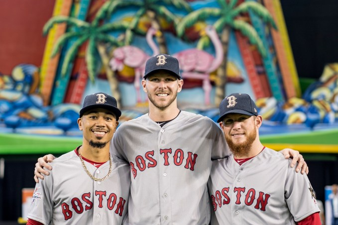 MIAMI, FL - JULY 10: Mookie Betts #50, Chris Sale #41, and Craig Kimbrel #46 of the Boston Red Sox pose for a photograph during Gatorade All-Star Workout Day at Marlins Park on July 10, 2017 in Miami, Florida. (Photo by Billie Weiss/Boston Red Sox/Getty Images) *** Local Caption *** Mookie Betts; Chris Sale; Craig Kimbrel