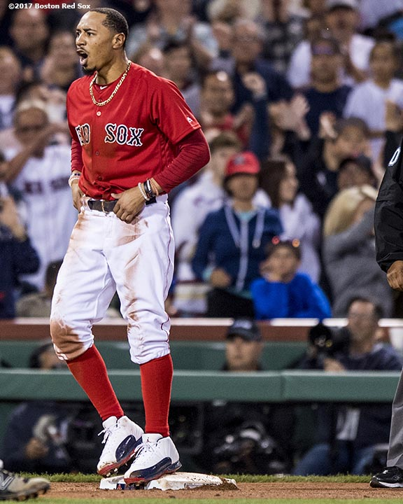 BOSTON, MA - JULY 14: Mookie Betts #50 of the Boston Red Sox reacts after stealing third base during the ninth inning of a game against the New York Yankees on July 14, 2017 at Fenway Park in Boston, Massachusetts. (Photo by Billie Weiss/Boston Red Sox/Getty Images) *** Local Caption *** Mookie Betts