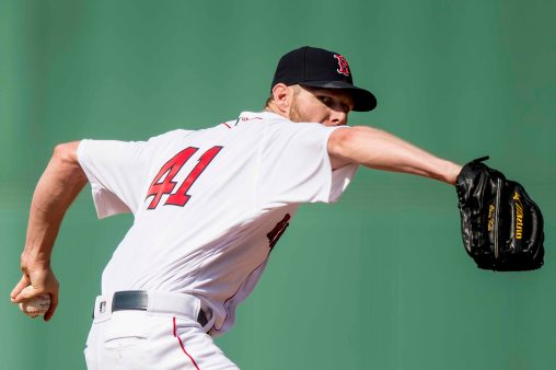 BOSTON, MA - JULY 15: Chris Sale #41 of the Boston Red Sox delivers during the first inning of a game against the New York Yankees on July 15, 2017 at Fenway Park in Boston, Massachusetts. (Photo by Billie Weiss/Boston Red Sox/Getty Images) *** Local Caption *** Chris Sale