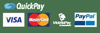Sikker betaling med Visa Dankort, MasterCard, MobilePay og Paypal via Quickpay