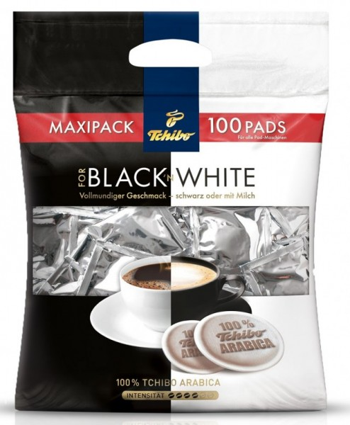 tchibo caffe black white megabeutel 100 pads