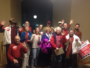 Some of our members who came to Spokane - red was the color of opposition to the proposal.