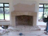 Large Tudor Limestone Fireplace with Flue System