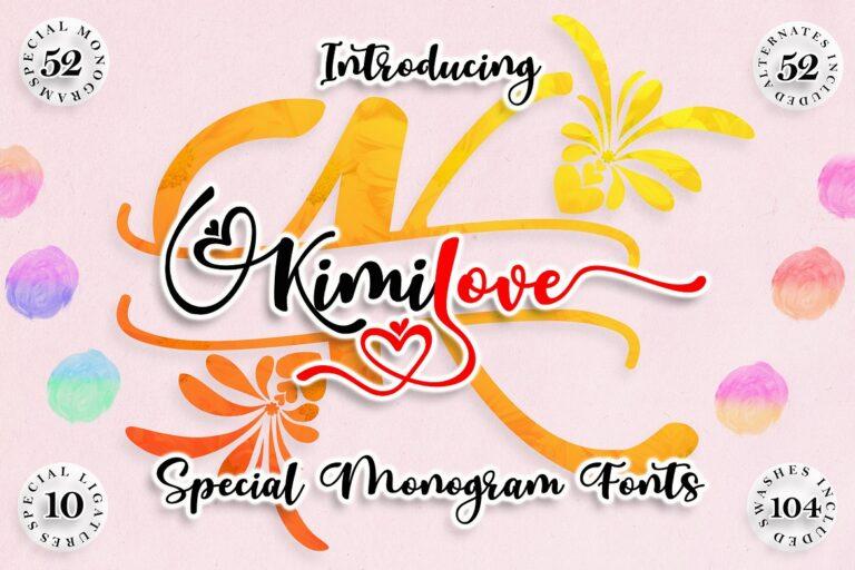 Preview image of Kimilove // Monogram Script Font