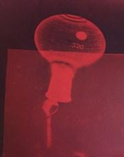 Bill Jones, red spill # 3, 2015, cyanotype, 8x10 inches