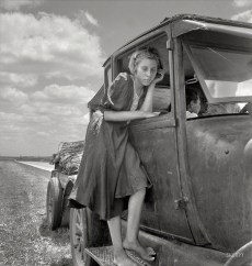 """June 1937. """"Child of Texas migrant family who follow the cotton crop."""""""