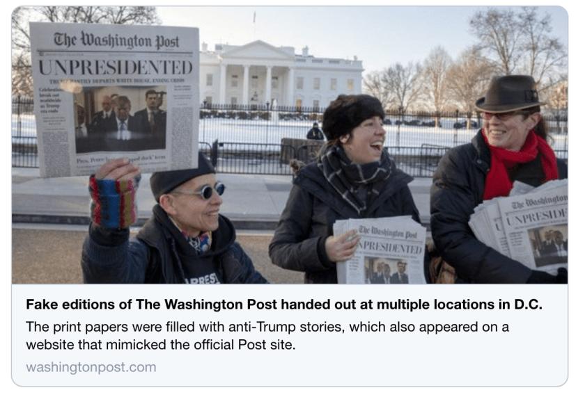 Fake Washington Post Upsets Fake News Washington Post