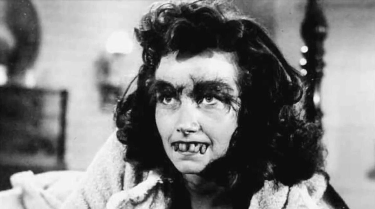 Here we have a photo of a comely young maiden, bucktoothed and bushy browed, from Frankenstein's Daughter.