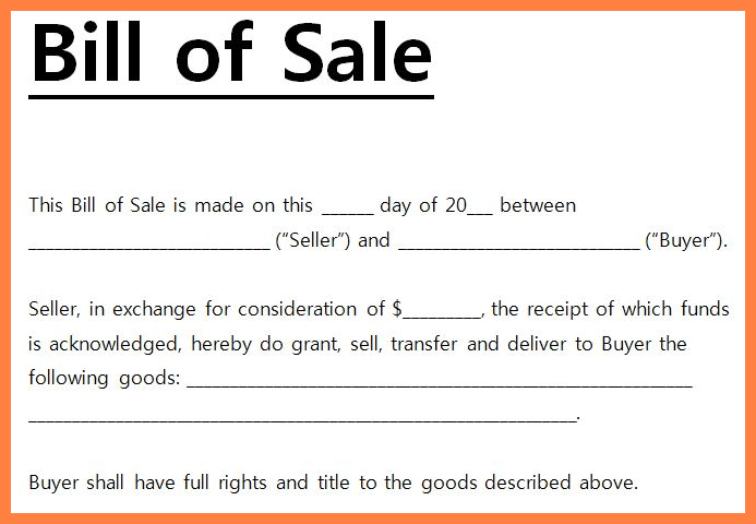 Simple Bill of Sale Example