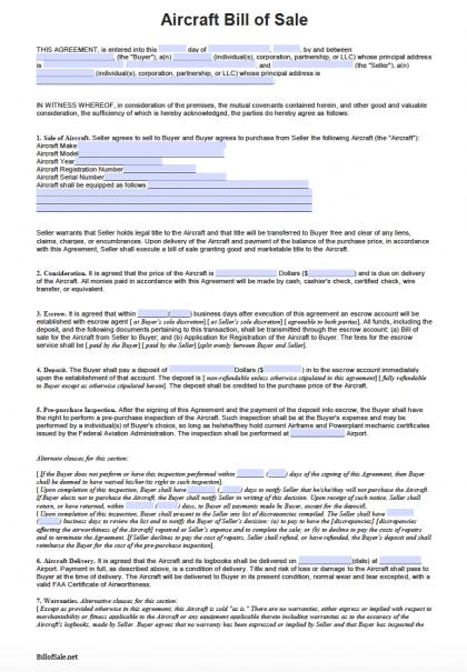 Free Aircraft Bill Of Sale Form Pdf Word Doc