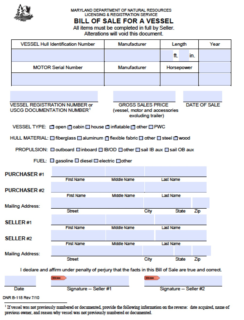 Free Maryland Boat Bill of Sale | B-118 Form | PDF | Word (.doc)