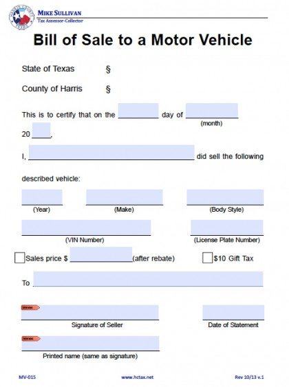 Bill Of Sale Form Texas >> Free Harris County Texas Bill Of Sale Form Pdf Word Doc
