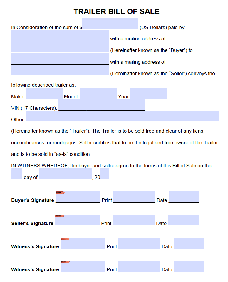 Bill Of Sale Form Texas >> Free Trailer Only Bill Of Sale Form Pdf Word Doc
