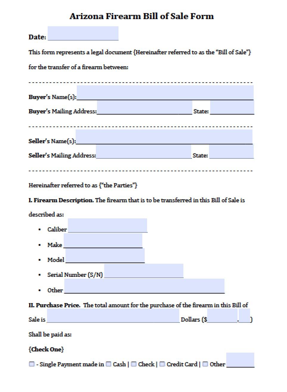 Free Arizona Firearm Gun Bill Of Sale Form Pdf Word Doc