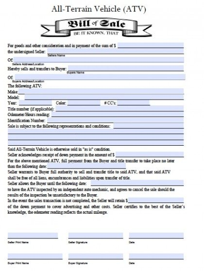 Free All Terrain Vehicle Atv Bill Of Sale Form Pdf