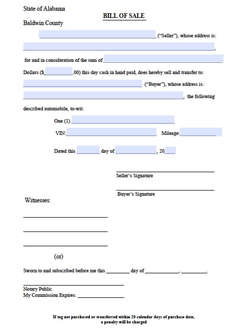 Free Baldwin County Alabama Bill Of Sale Form Pdf Word Doc