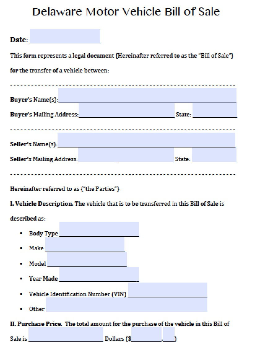 Bill Of Sale Example >> Free Delaware Motor Vehicle Dmv Bill Of Sale Form Pdf Word Doc