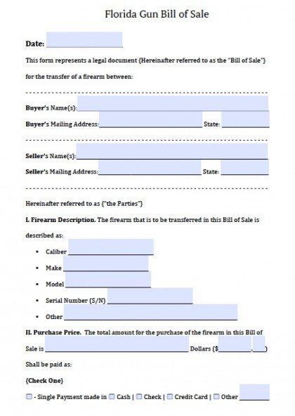 Firearm Bill Of Sale Florida >> Free Florida Firearm/Gun Bill of Sale Form | PDF | Word (.doc)