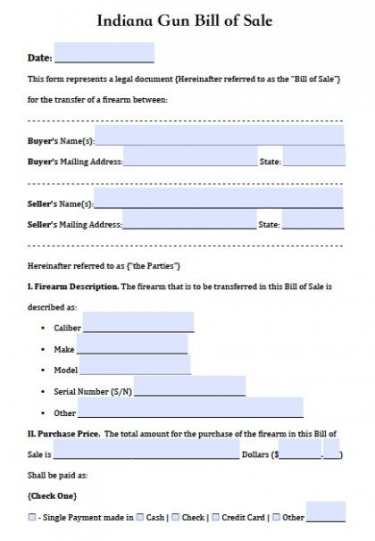 Bill Of Sale Indiana >> Free Indiana Firearm Gun Bill Of Sale Form Pdf Word Doc