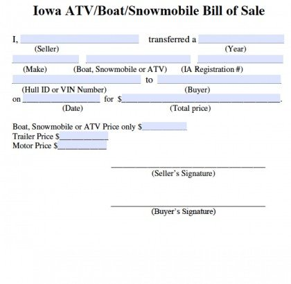 Free Iowa Bill Of Sale For Atv Boat Snowmobile Form