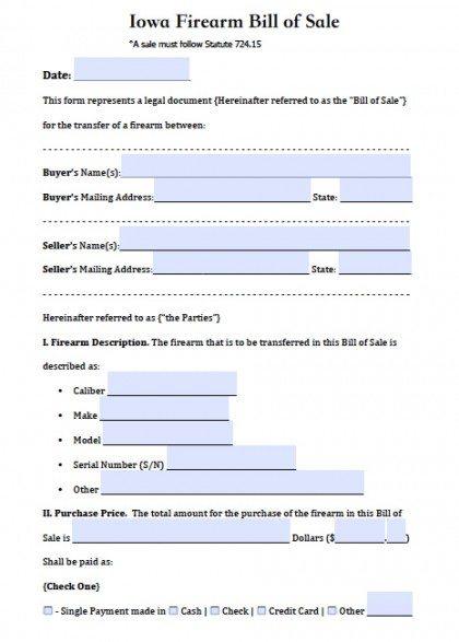 Bill Of Sale Indiana >> Free Iowa Firearm Gun Bill Of Sale Form Pdf Word Doc